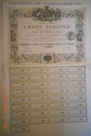 ACTION - OBLIGATION De L'EDEN - THEATRE Du 10 Juin 1883 - Cinéma & Théatre