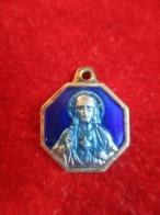 Mini-médaille Religieuse Ancienne/Coeur Du Christ/Vierge Et Enfant//Bronze Cloisonnéémaillé Bleu/Début XXéme    CAN839 - Religione & Esoterismo
