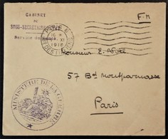 Petite Env Franchise Militaire Cachets Ministère De La Guerre Service De Santé 1er Novembre 1918 Vers Paris - Poststempel (Briefe)