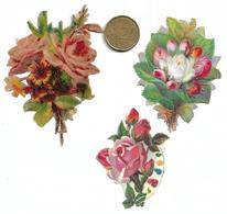 924 - LOT 3 DECOUPIS BOUQUETS DE FLEURS ROSES ETC...... PIECE 20 CTS POUR EVALUATION TAILLE . SCANS RECTO VERSO - Flowers