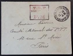Petite Enveloppe Franchise Militaire Cachet T.S.F. BORDEAUX Sapeur Radio Poste TSF Quai Des Salinières Avril 1917 - Poststempel (Briefe)