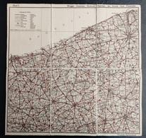 Oude Geografische Kaart (Jaren'20) VTB Ieper Brugge Oostende Diksmuide Nieuwpoort Blankenberghe Kortrijk Roeselare Tielt - Cartes Géographiques