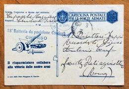 CHERSO - 18 BATTERIA POSIZIONE COSTIERA - CARTOLINA POSTALE FF.AA. IL RISPARMIATORE.. Per ROMA UFF. SPROVVISTO DI BOLLO - Marcophilie