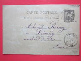 Cp écrite CAMUZAT à CHAMPLEMY Le 6/10/1897 Oblitérée à CHAMPLEMY & PREMERY (58) Timbre Entier Type SAGE - Ganzsachen