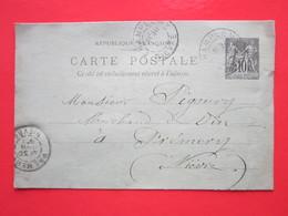 Cp écrite MONCOURANT à CHAMPLEMY Le 30/06/1897 Oblitérée à CHAMPLEMY & PREMERY (58) Timbre Entier Type SAGE - Ganzsachen
