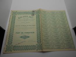 """Part Fondateur  """" Richelieu """" Bruxelles 1927( Restaurants , Hotels ). N°1337 - Tourisme"""