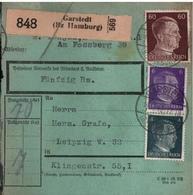 ! 1943 Paketkarte Deutsches Reich, Garstedt ( Norderstedt ) Nach Leipzig , Zusammendrucke - Storia Postale