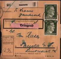 ! 1943 Paketkarte Deutsches Reich, Gaschwitz Nach Taucha , Zusammendrucke - Briefe U. Dokumente