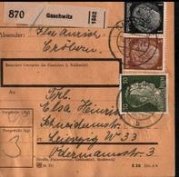 ! 1943 Paketkarte Deutsches Reich, Gaschwitz Nach Leipzig , Zusammendrucke - Briefe U. Dokumente