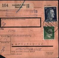 ! 1943 Paketkarte Deutsches Reich, Gremsdorf über Bunzlau Nach Leipzig , Zusammendrucke - Briefe U. Dokumente
