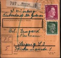 ! 1943 Paketkarte Deutsches Reich, Gimmel über Herrnstadt Kreis Guhrau Nach Leipzig , Zusammendrucke - Briefe U. Dokumente