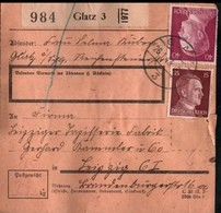 ! 1943 Paketkarte Deutsches Reich, Glatz Nach Leipzig , Zusammendrucke - Briefe U. Dokumente