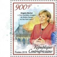 Notre Dame De Paris En Feu Déclaration De La Chancelière Angela Merkel Sur TP Neuf** De Rép Centrafricaine De 2019 - Churches & Cathedrals