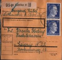 ! 1943 Paketkarte Deutsches Reich, Görlitz Nach Leipzig , Zusammendrucke - Briefe U. Dokumente