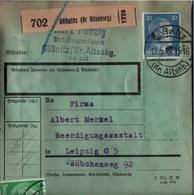 ! 1943 Paketkarte Deutsches Reich, Gößnitz Nach Leipzig , Zusammendrucke - Briefe U. Dokumente