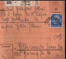 ! 1943 Paketkarte Deutsches Reich, Gottleuba , Absender R.A.D. Lager, Reichsarbeitsdienstlager , Zusammendrucke - Briefe U. Dokumente