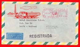 1965 CASA DO ASFALTO - BRASILE - AFFRANCATURA ROSSA- EMA - METER MARK - FREISTEMPEL - Erdöl