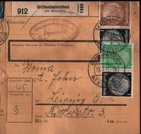 ! 1943 Paketkarte Deutsches Reich, Gräfenhainichen Nach Leipzig, Zusammendrucke - Briefe U. Dokumente