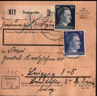 ! 1943 Paketkarte Deutsches Reich, Grafenwöhr Nach Leipzig, Zusammendrucke - Covers & Documents