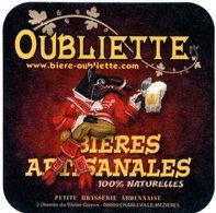 Oubliette. Bières Artisanales 100 % Naturelles. Petite Brasserie Ardennaise. Charleville-Mezières. France. - Sotto-boccale