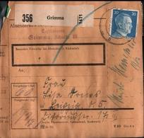 ! 1943 Paketkarte Deutsches Reich, Grimma Nach Leipzig, Zusammendrucke - Briefe U. Dokumente