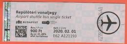 UNGHERIA - Hungary - Magyar - Ungarn - 2020 - Repülőtéri Vonaljegy - Airport Shuttle Bus - Biglietto Di Corsa Semplice - Europa