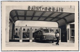 """CT-00276- FOTO ORIGINALE - AUTOBUS IN VISITA IN AZIENDA """"SAINT GOBAIN """" DI PISA GIUGNO 1951 - Altri"""