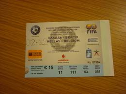 Greece-Belgium UEFA International Friendly Game Football Match Ticket Stub 29/02/2012 - Tickets & Toegangskaarten