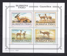Burkina Faso, 1983, Fauna, Gazelles, Sheet, MNH** - Burkina Faso (1984-...)