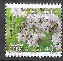 SERBIA, 2019, MNH, DEFINITIVE, FLOWERS, BEES, 1v - Abejas