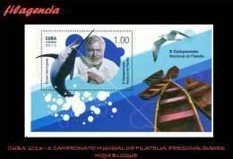 CUBA MINT. 2013-35 X CAMPEONATO NACIONAL DE FILATELIA. PERSONALIDADES DEL ARTE LA CIENCIA & EL DEPORTE. HOJA BLOQUE - Cuba
