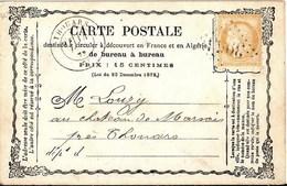 France Précurseur CP YT 59 Postée à Thouars Deux Sèvres  Pour Cachet Losange GC 3955 Chemins De Fer De Vendée - 1871-1875 Cérès