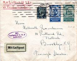 DR 1924, 2x Nothilfe + 80 Pf. Stephan Auf Zeppelin Brief V. Berlin N. USA - Allemagne