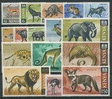 Kenia 1966 Säugetiere Elefant Löwe Gürteltier Wüstenfuchs 20/35 Postfrisch - Kenia (1963-...)
