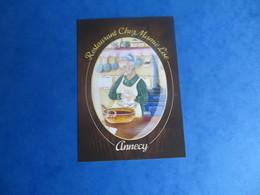 Carte De Visite Contemporaine Savoie Annecy Restaurant Chez Mamie Lise Grand Mère Au Fourneaux Gravure Relief - Visiting Cards