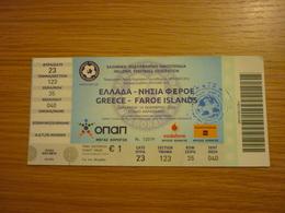 Greece-Faroe Islands UEFA Euro 2016 Qualifying Round Game Football Match Ticket Stub 14/11/2014 - Tickets & Toegangskaarten