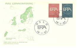 Norway 1967 Remove The Customs Barriers Between The EFTA Countries  Mi 551-552 FDC - Brieven En Documenten