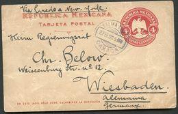 Mexico Postal Card MEPSI #PC116 Used SALINA CRUZ To Germany 1911 - Mexico