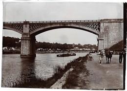 MELUN - Le Pont De Chartrettes - Quai De Halage - PENICHE - PHOTO 17.5 X 12.4 Cm - Melun