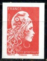 Marianne L'engagée Non Dentelée TVP Rouge Issue Du Bloc Neuf ** - Unused Stamps
