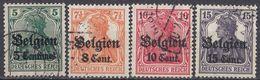 OCCUPAZIONE TEDESCA DEL BELGIO - 1914/1918 - Lotto Di 4 Valori Usati: Yvert 2, 13, 14 E 16. - Ocupación 1914 – 18