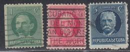 Cuba, Scott #264, 265, 268, Used, Marti, Gomez, Garcia, Issued 1917 - Cuba