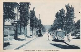 Rare Cpa Ponthierry L'avenue De La Gare Belle Animation Avec Vieilles Voitures - France