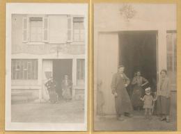03 - Ainay Le Chateau ?  - Lot De Deux Cartes  Photo : Marechalerie Tabourneau ? - Ouvriers Devant Un Atelier - - France