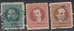 Cuba, Scott #264, 265, 268, Used, Marti, Gomez, Garcia, Issued 1917 - Used Stamps