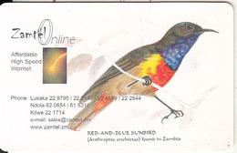 ZAMBIA(chip) - Red & Blue Sunbird, Zamtel Telecard K10000, Chip GEM3.3, Used - Zambia