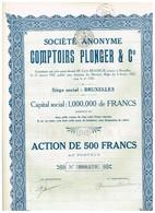 Titre Ancien - Société Anonyme Comptoirs Plonger & Cie - Titre De 1927 - - Industrie