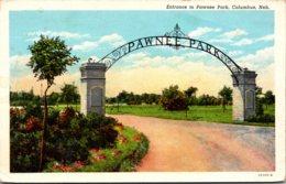 Nebraska Columbus Entrance To Pawnee Park 1944 Curteich - Columbus