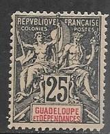 Guadeloupe   1892  Sc#37  25c  MLH  2016 Scott Value $11 - Nuevos