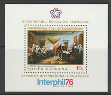 BLOC NEUF DE ROUMANIE - BICENTENAIRE DES ETATS-UNIS, TABLEAU N° Y&T 124 - Us Independence